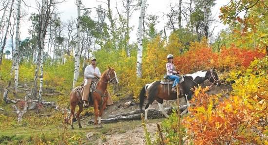 Reporter April Clark and guide Jason Bair ride horseback through fall foliage