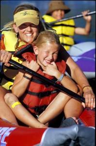 mom and daughter kayaking on a girlfriend getaway in Glenwood Springs