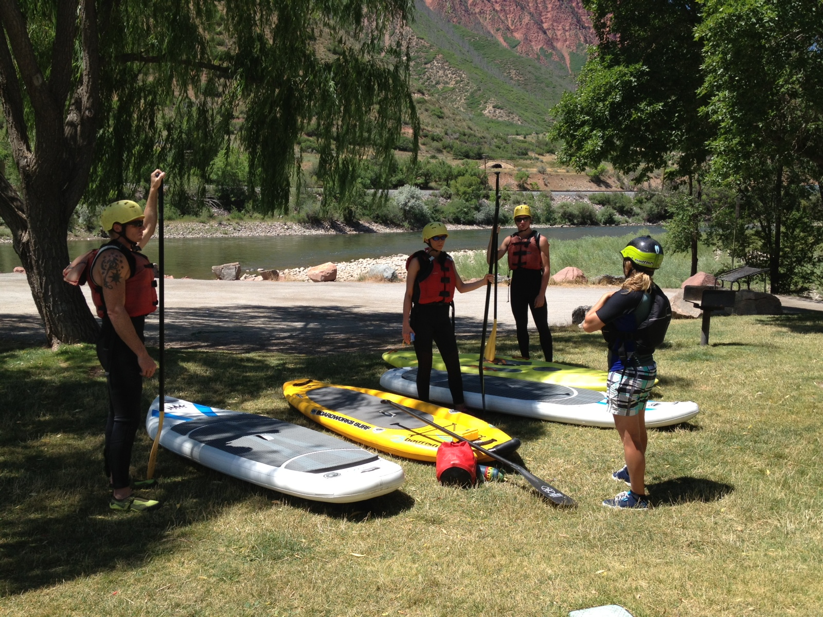Our guide, Brittany Parker, leads a SUP orientation. The excitement is building to get on the river!