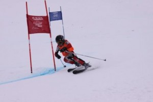 Henry Barth shreds some powder during a race.